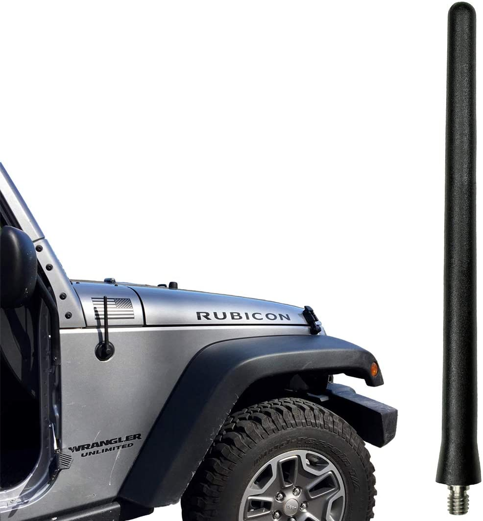 Spring Steel Construction 2002-2007 - Spiral Wind Noise Cancellation Stainless Steel Threading AntennaMastsRus 21 Black Antenna is Compatible with Jeep Liberty