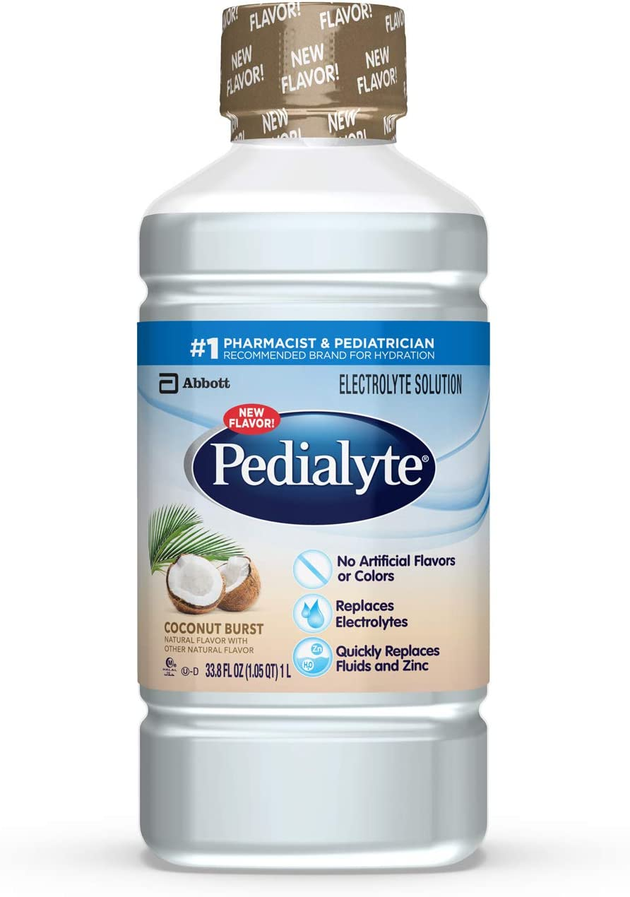 Pedialyte Electrolyte Solution, Hydration Drink, Coconut Burst, 1 Liter, 4 Count