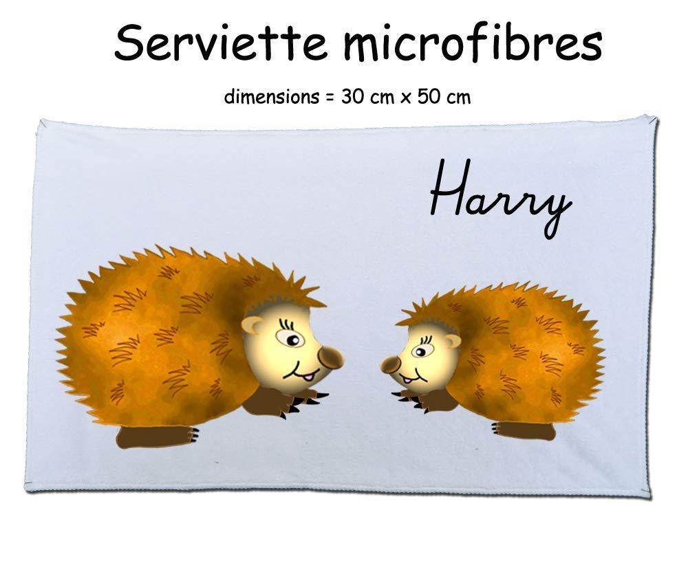 Texti-cadeaux-serviette microfibre (50 x 30 cm) Hérisson à personnaliser comme exemple Harry