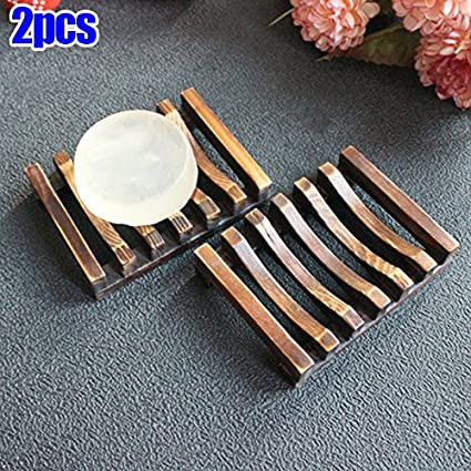 2pcs Bathroom Wooden Soap Case Holder Sink Deck Bathtub Shower Dish Soap Hot