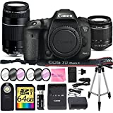 Canon EOS 7D Mark II Digital SLR Camera + CANON 18-55mm + CANON 75-300mm III Lens + SD Card Reader + 64gb SDXC + Remote + Spare Battery + Camera Works Accessory Bundle + Microfiber Cloth