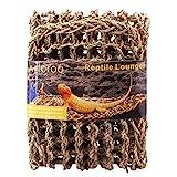 Aiicioo Lizard Hammock Lounger - Bearded Dragon Hammock 100% natural Seagrass Fibers Ideal Anoles, Bearded Dragons Geckos, Iguanas & Hermit Crabs