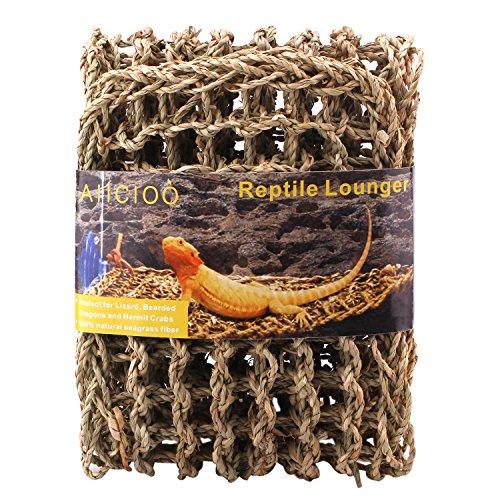 Aiicioo Lizard Hammock Lounger - Bearded Dragon Hammock 100% Natural Seagrass Fibers Ideal for Anoles, Bearded Dragons Geckos, Iguanas & Hermit Crabs ()