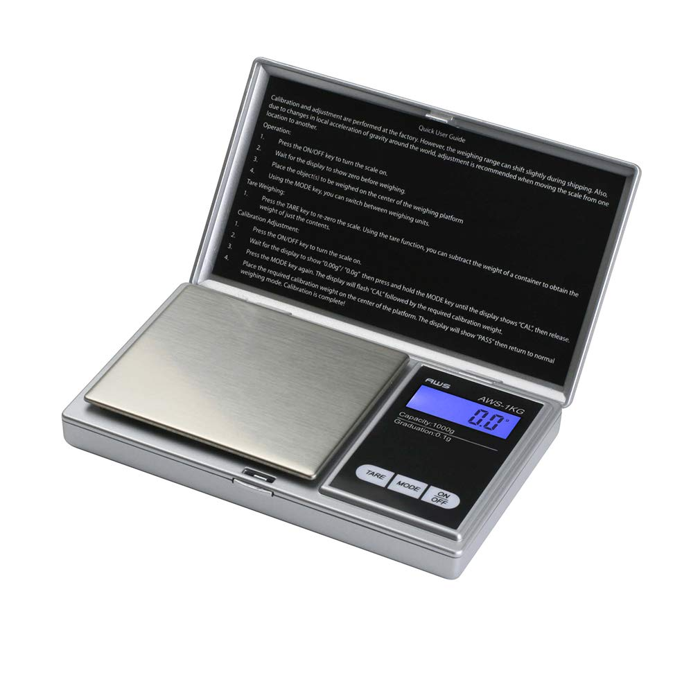 American Weigh Scales Signature Series Digital Precision Pocket Scale, Silver 1000 x 0.1G (AWS-1KG-SIL)