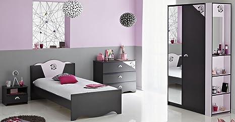 Kinderzimmer tadeo grigio scuro rosa libreria letto comodino
