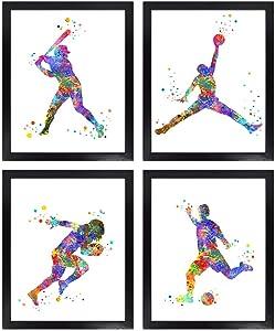 Dignovel Studios Unframed (Set of 4) 8X10 Watercolor Sport Art print Boy Bedroom Wall Art Baseball Basketball Football Soccer print set dnc10
