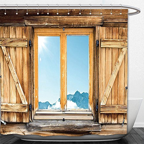 Interestlee Shower Curtain Shutters Decor Collection Weathered Facade of A Mountain Hut with Mountain Reflection in the Window Picture Beige Blue - Salem Hut