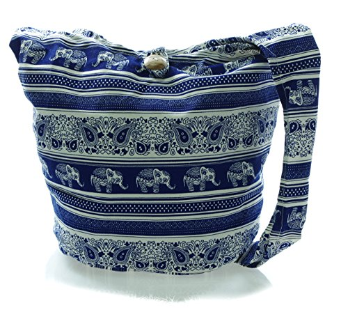 Messenger Crossbody Purse elecb21 Sling Blue Bohemian white Avarada Hobo Hippie Bag Cotton Medium UHwI0Y