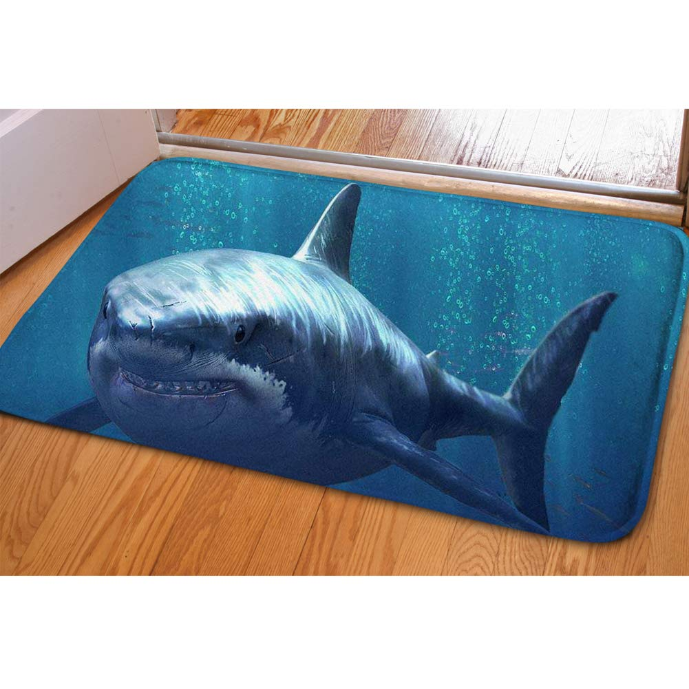 Soft Hallway Entrance Welcome Mat Shark Dolphin Blue Doormat For Bedroom Kitchen Dorm Funny Indoor Small Non Slip Rug Cabin Doorway Front Door Mat Bibulous Quick-dry Bathroom Floor Carpet