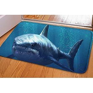Soft Hallway Entrance Welcome Mat Shark Dolphin Blue Doormat For Bedroom Kitchen Dorm Funny Indoor Small Non Slip Rug Cabin Doorway Front Door Mat Bibulous Quick-dry Bathroom Floor Carpet