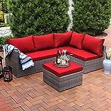 Sunnydaze Port Antonio Wicker Rattan 4-Piece Patio Sofa Sectional Set with Dark Red Cushions