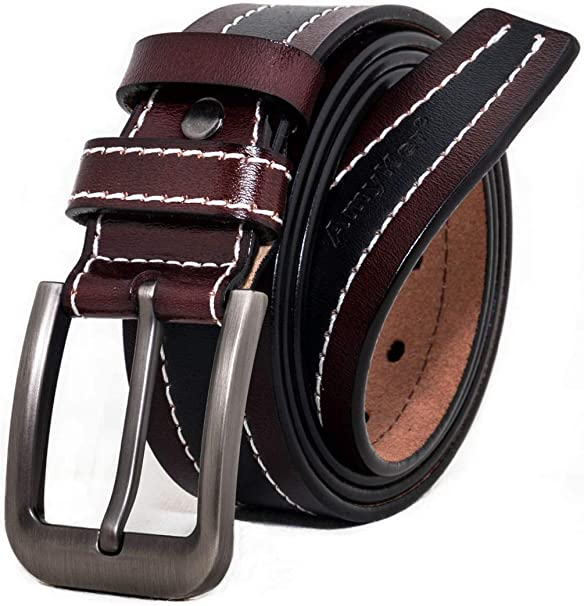 Dark Brown Leather Belt For Jeans Trousers Suit Fashion Cheap