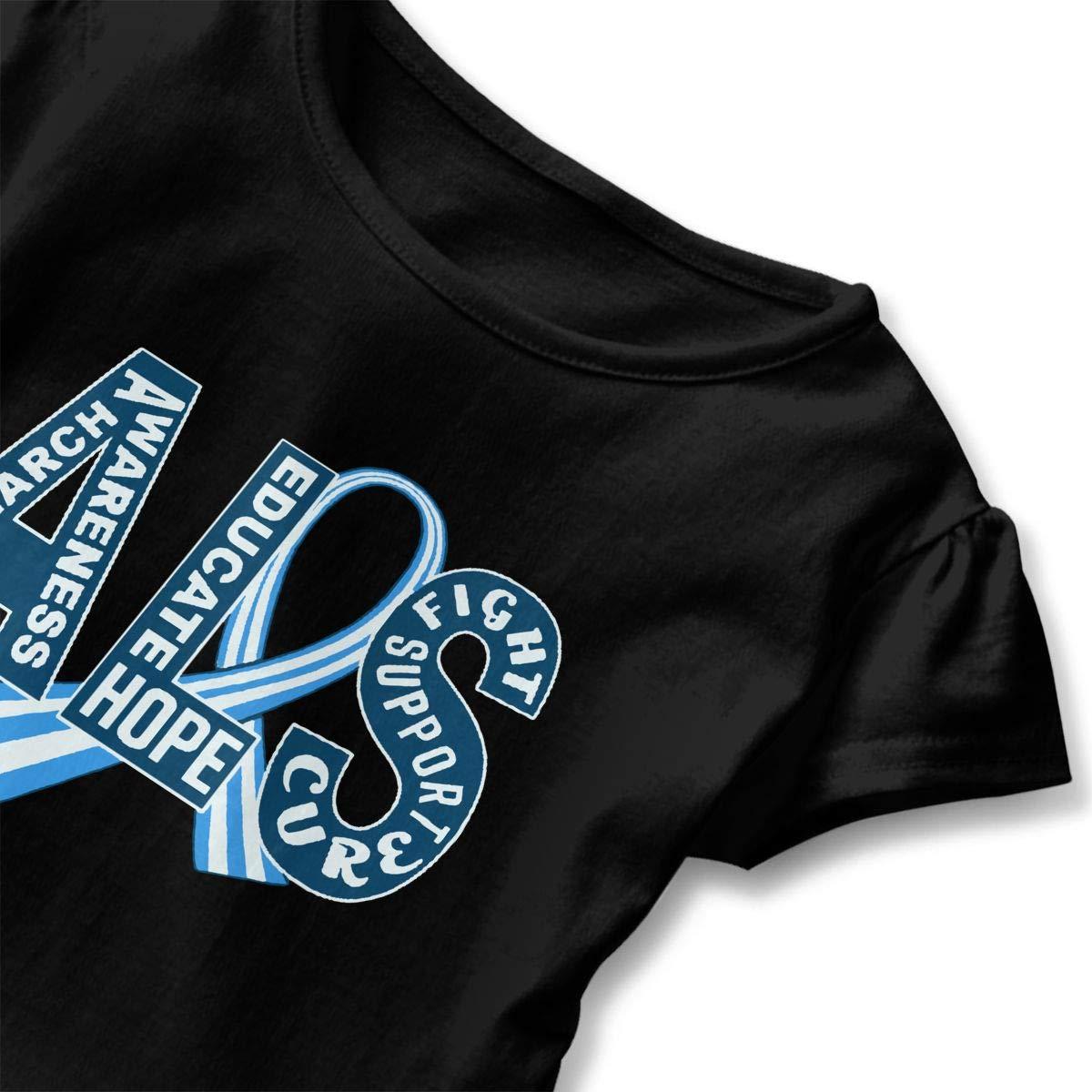 SHIRT1-KIDS ALS Awareness Ribbon Childrens Girls Short Sleeve T Shirts Ruffles Shirt Tee for 2-6T