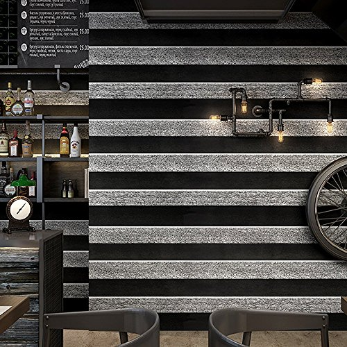Wallpaper Stripe Modern (Blooming Wall: Modern Fashion Black&Dark Gray Stripes Flocking Embossed Wall Mural Wallpaper Wall Paper Roll, 20.8 In32.8 Ft=57 Sq.ft (HBTW001))