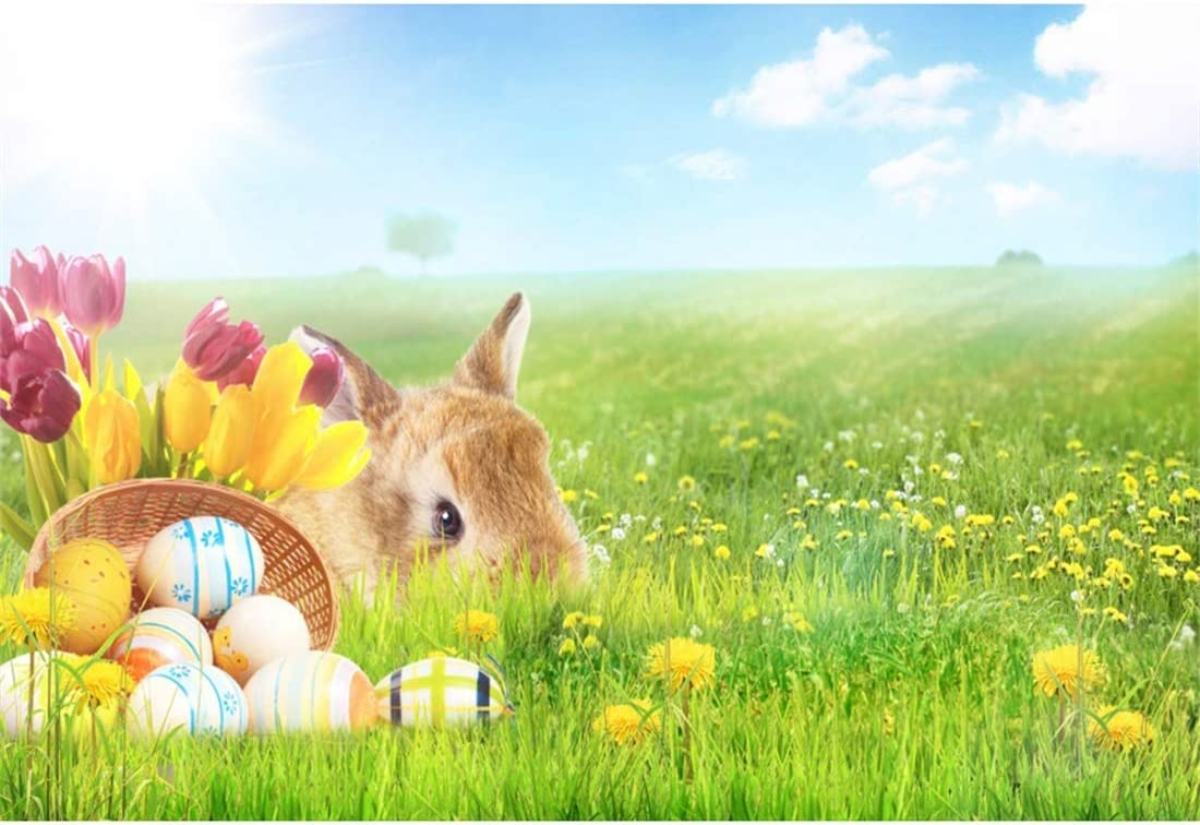 Yeele-Easter-Backdrop 10x8ft Easter Photography Background Eggs Rabbit Grassland Basket Yellow Flower Sunshine Photo Backdrops Pictures Studio Props Wallpaper