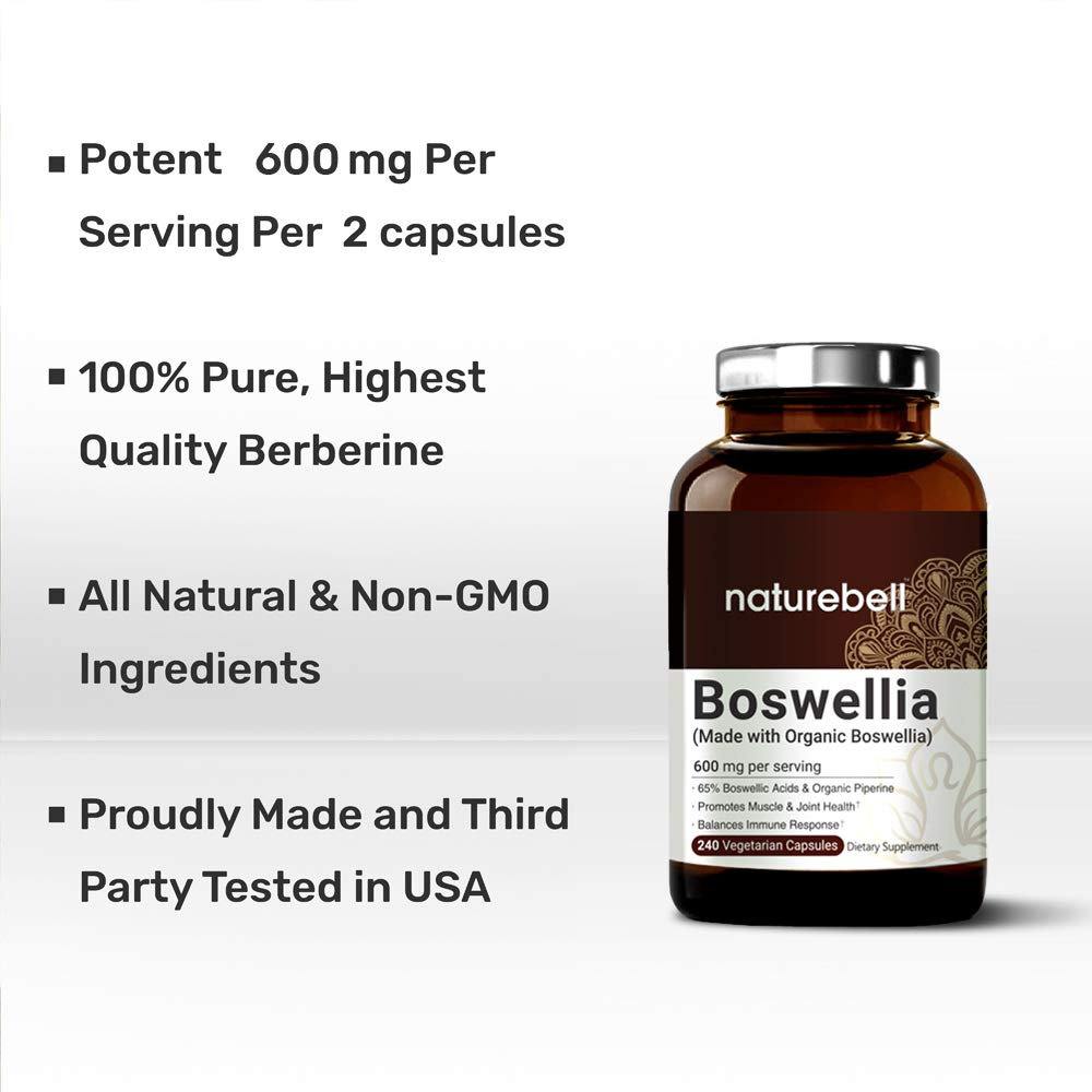 NatureBell Organic Boswellia Serrata Extract, 65% Boswellic Acids, 600mg Per Serving, 240 Capsules with Black Pepper Extract, Supports Muscle and Joint Health, Non-GMO, Made in USA