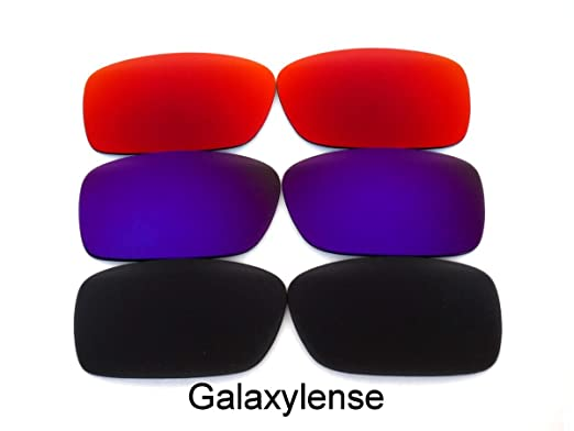 2d464540322 Amazon.com  Galaxy Replacement Lenses For Oakley Crankcase Polarized  Black Purple Red 3Pair  Clothing