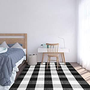 SEEKSEE 100% Cotton Plaid Rugs Black/White Checkered Plaid Rug Hand-Woven Buffalo Checkered Doormat Washable Porch Kitchen Area Rugs, 5.5ft x 7.5ft