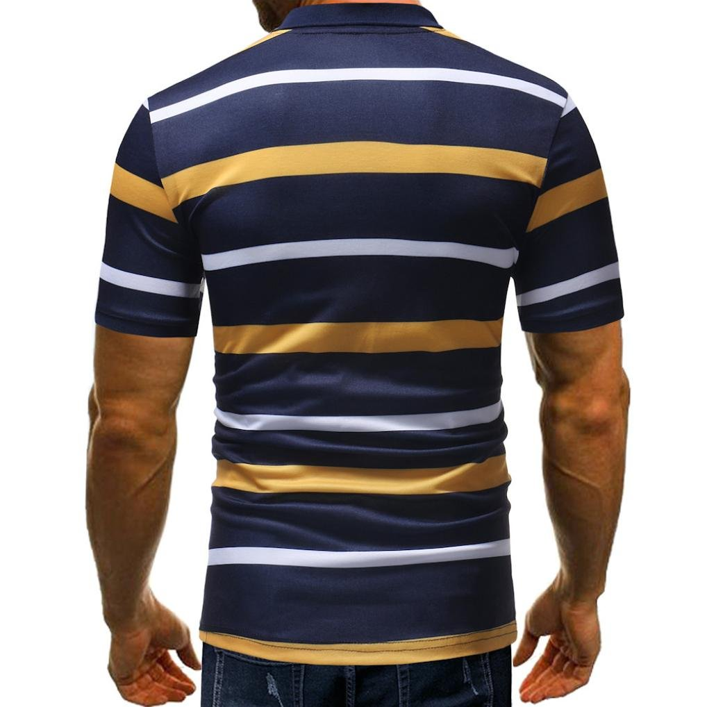 vermers Mens Fashion Polo Shirts Summer Casual Buttons Striped Short Sleeve T Shirt(2XL, Yellow) by vermers (Image #2)