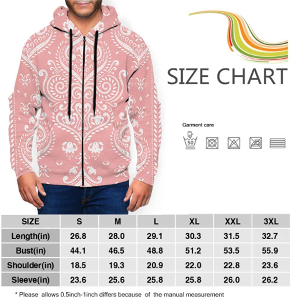 XDCGG Long Sleeve Hoodie Print Beautiful Pink White Floral Pattern Jacket Zipper Coat Fashion Mens Sweatshirt Full-Zip S-3xl