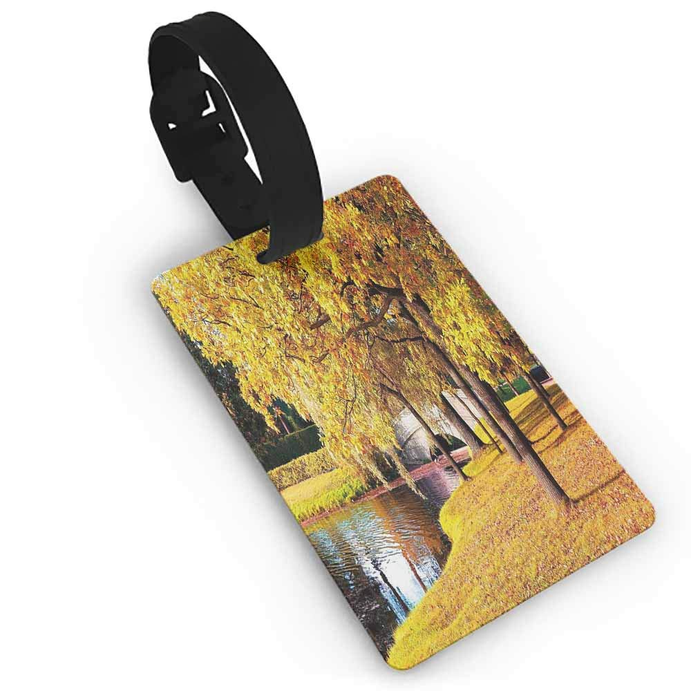 Boarding Tags Luggage Tag,Nature,Bolt Forked against Dark Sky Thunderstorm Intense Electrical Rays Theme Nature Art,Multicolor One Size Straps Suitcase Yellow Red