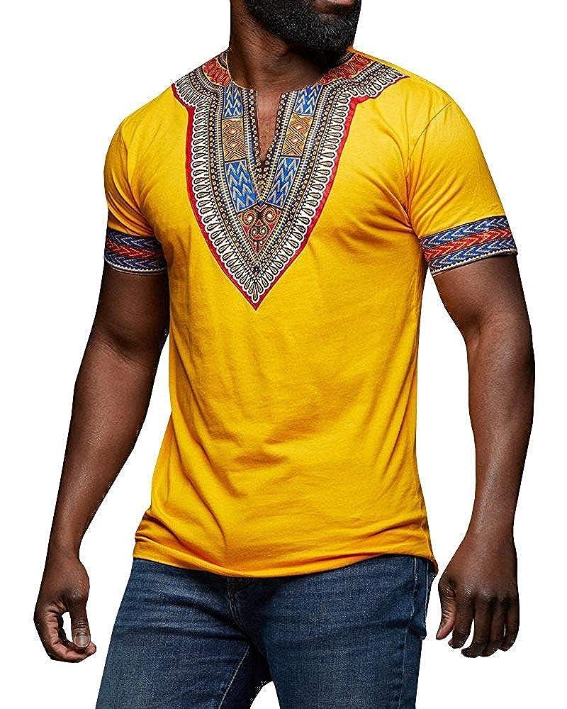 F/_Gotal Mens African Tribal Dashiki Floral Short Sleeve T Shirt Blouse Tops Black