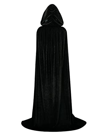 Hamour Unisex Velvet Halloween Cape Full Length Hooded Cloak Adult Costume 91d3549ec
