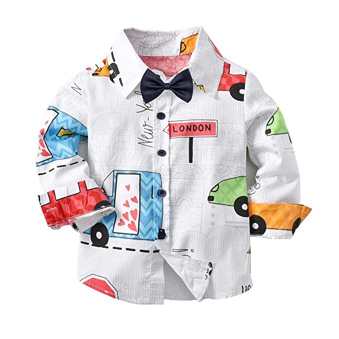 7ffce3545 LAPLBEKE Niños Bebé Camisa de Cuadros Manga Larga Camiseta Algodón Shirt  Tops Blusa Auto 6-