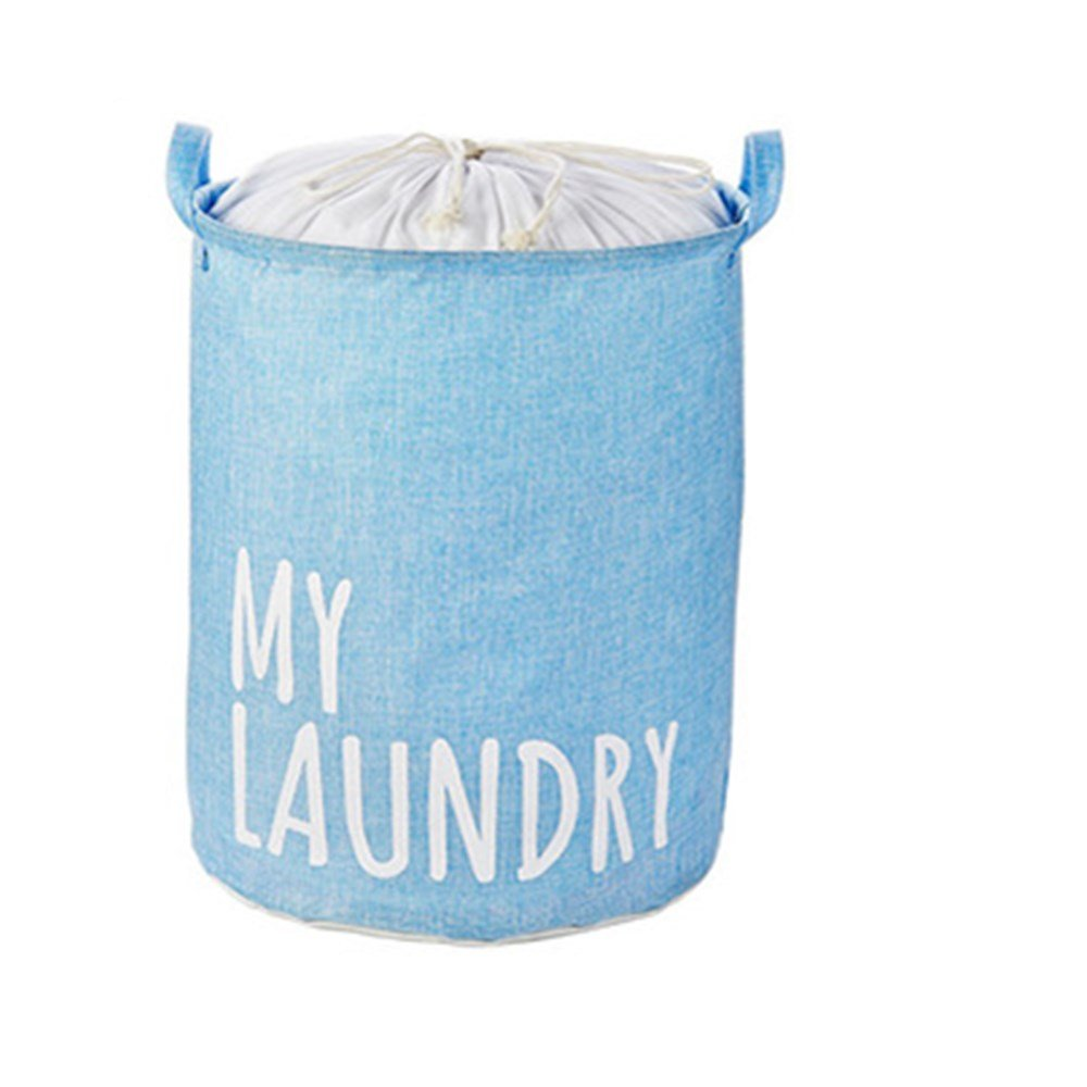 Saint Kaiko Cotton Laundry Hamper Foldable with Lid Laundry Basket Laundry Bin Round Storage Basket Dirty Clothes Holder for Nursery Toys Clothing (Grey)