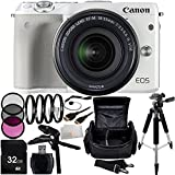 Canon EOS M3 Mirrorless Digital Camera with EF-M 18-55mm f/3.5-5.6 IS STM Lens (White) 32GB Bundle 18PC Accessory Kit Includes 32GB Memory Card + High Speed Memory Card Reader + 3PC Filter Kit (UV-CPL-FLD) + 4PC Macro Filter Set (+1,+2,+4,+10) + MORE - International Version (No Warranty)