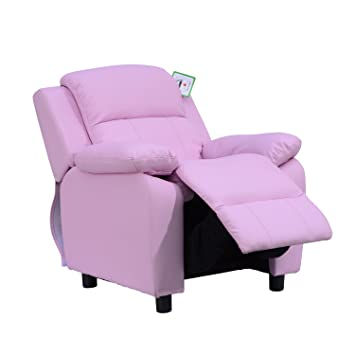 Astonishing Homcom Kids Children Recliner Lounger Armchair Games Chair Sofa Seat Pu Leather Look W Storage Space On Arms Pink Andrewgaddart Wooden Chair Designs For Living Room Andrewgaddartcom