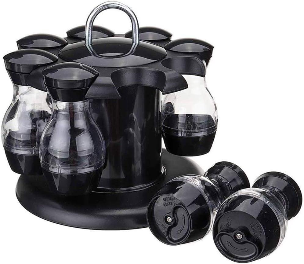 Victor Johnsond Sal y Pimienta Conjunto de 8 Botellas con 360 ° Rotación Titular Sal y Pimienta Shaker Set Aceite y vinagre dispensador Conjunto (Color : Black)