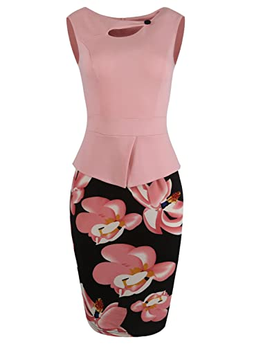 Fantaist Women's Keyhole Neck Floral Print Cotton Peplum Bodycon Office Dress