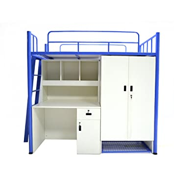 Unicos Jumbo Bunk Bed With Study Table And Storage In White And Blue Part 94