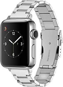 Silver Brushed 42mm 44mm Watch Band Compatible for Apple Watch Stainless Steel Watch Strap Replacement Metal Strap for Series 6 SE 5 4 3 2 1