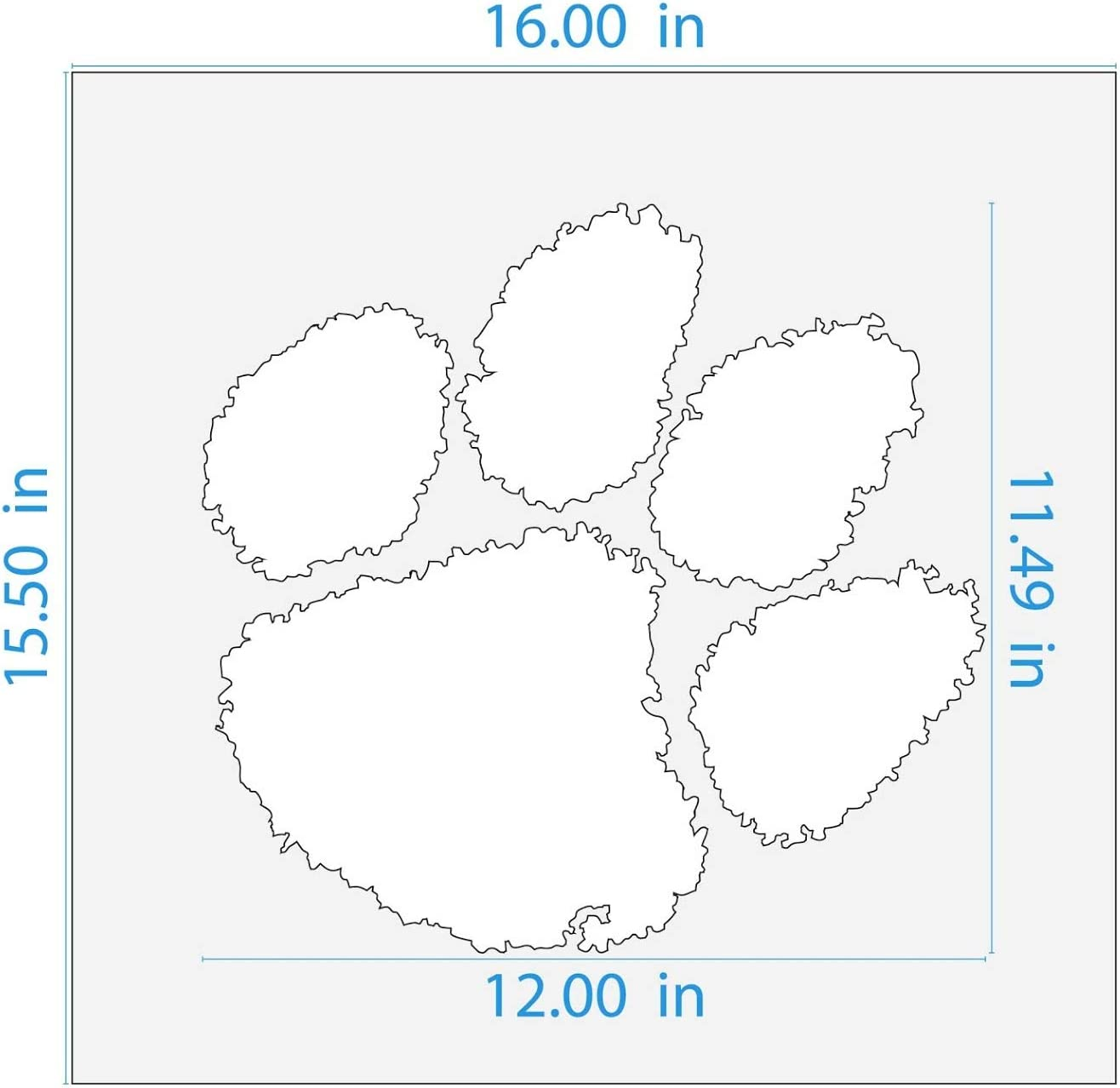 Reusable 14 Mil Mylar Plastic Officially Licensed 12 x 11.54 inches Clemson Tigers Paw Logo Stencil