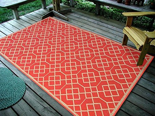 Furnish my Place Geometric Blocks Sunset Orange, Indoor and Outdoor Area Rug, UV Protected and Fade Resistant - Orange Block Rug