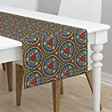 Table Runner - Stained Glass Medieval Geometric Bright Window Leading by Peacoquettedesigns - Cotton Sateen Table Runner 16 x 108