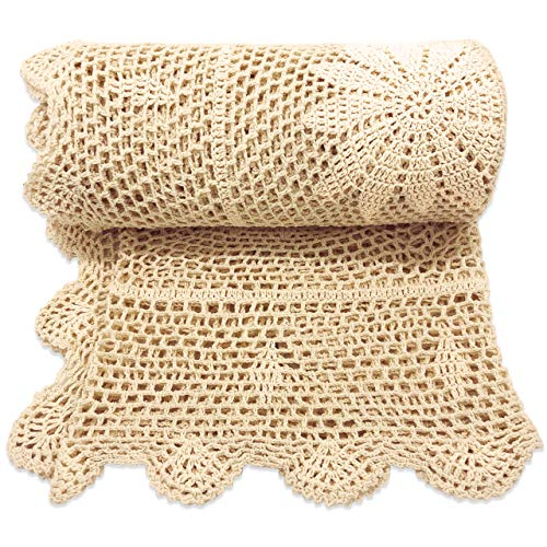 Zenviro 'The Boho Throw' - 100% Cotton Hand Knitted Crochet Macrame Throw Blanket - for Couch, Chair, Sofa, Bed, 50x60 inch