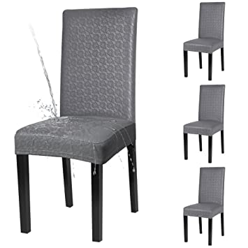 YISUN Dining Chair Covers, Solid Pu Leather Waterproof and Oilproof Stretch Dining Chair Protector Cover Slipcover (Lace Grey, 4 Pack)