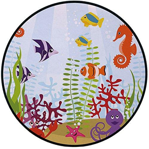Printing Round Rug,Aquarium,Friendly Sea Animals Tropical Aquatic Habitat Collection Seahorse Crab Octopus Decorative Mat Non-Slip Soft Entrance Mat Door Floor Rug Area Rug For Chair Living Room,Multi