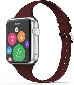THWALK Sport Band Compatible with Apple Watch 38/40mm 42/44mm Slim Thin Narrow Silicone Replacement Strap with Stainless Steel Buckle Compatible for iWatch SE Series 6/5/4/3/2/1(Burgundy, 38/40mm)