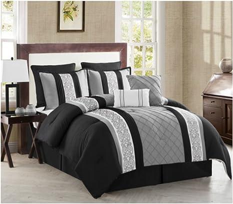 Amazon Com Elegant 8 Piece Comforter Set In Black Gray White Pleats Geometric Pattern Queen Size Home Kitchen