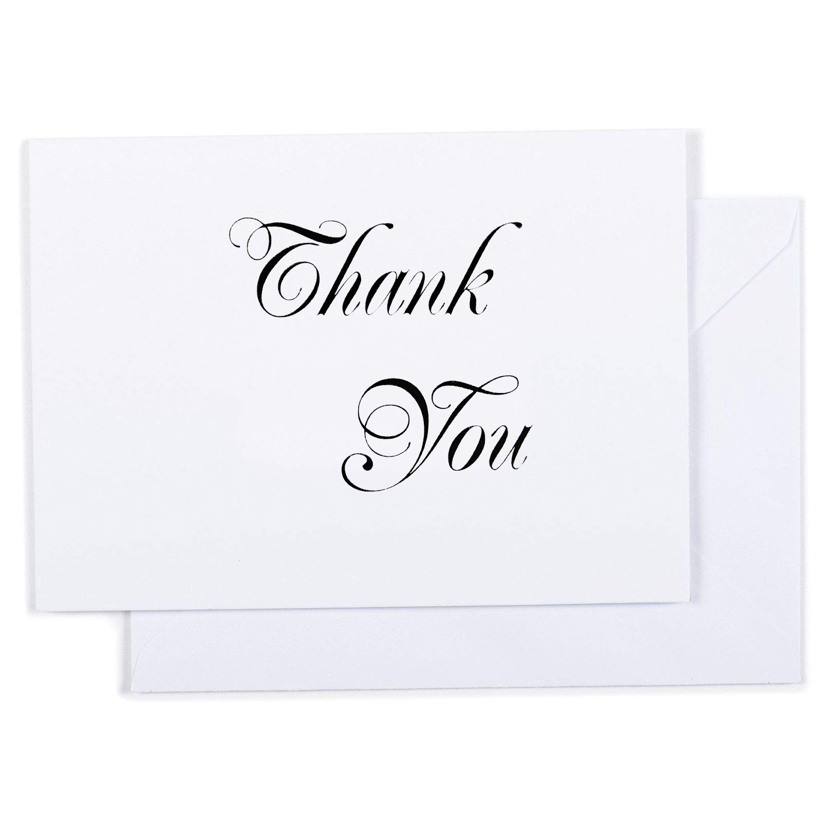 Thank you cards - 100 count letterpress cards with white envelopes.Perfect for personal and business/office use (black and white)