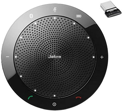 Jabra Speak 510 MS Wireless Bluetooth Speaker for Softphone and Mobile Phone Link 370 USB Included Easy Setup, Portable Speaker for Holding Meetings Anywhere with Outstanding Sound Quality 7510-309 , Black