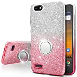 ZTE Blade Force Case, ZTE Warp 8 Case,Silverback Girls Bling Glitter Sparkle Cute Phone Case With 360 Rotating Ring Stand, Soft TPU Outer Cover + Hard PC Inner Shell Skin for ZTE N9517 -Pink For Sale