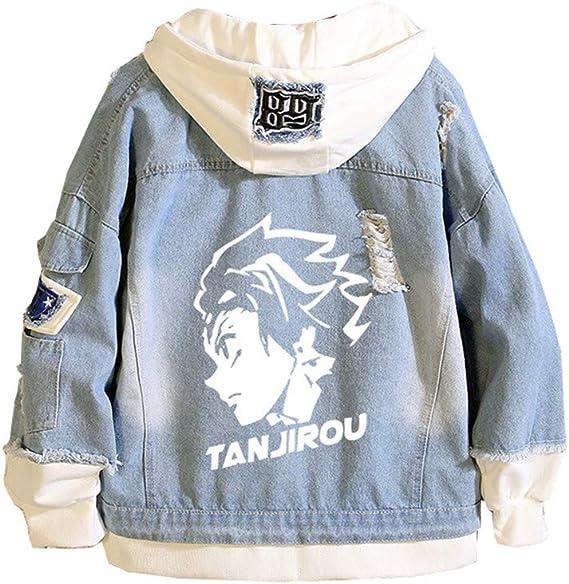 Demon Slayer Anime Veste en jean unisexe pour adolescents fans de manga Demon Slayer Cosplay Costume Anime Denim Hoodie Manteau en jean pour gar/çons et filles