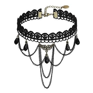 e8c32bfe280 AnazoZ Bijoux Fantaisie Collier Fille Ras du Cou Noir Dentelle Choker  Gothique
