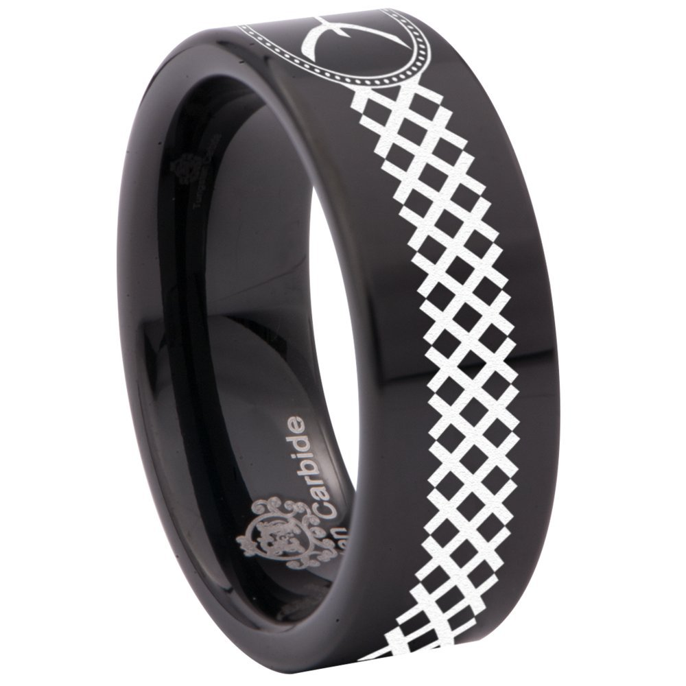Friends of Irony Black Tungsten Carbide Pisces Ring 8mm Wedding Band Anniversary Ring for Men and Women Size 9.5