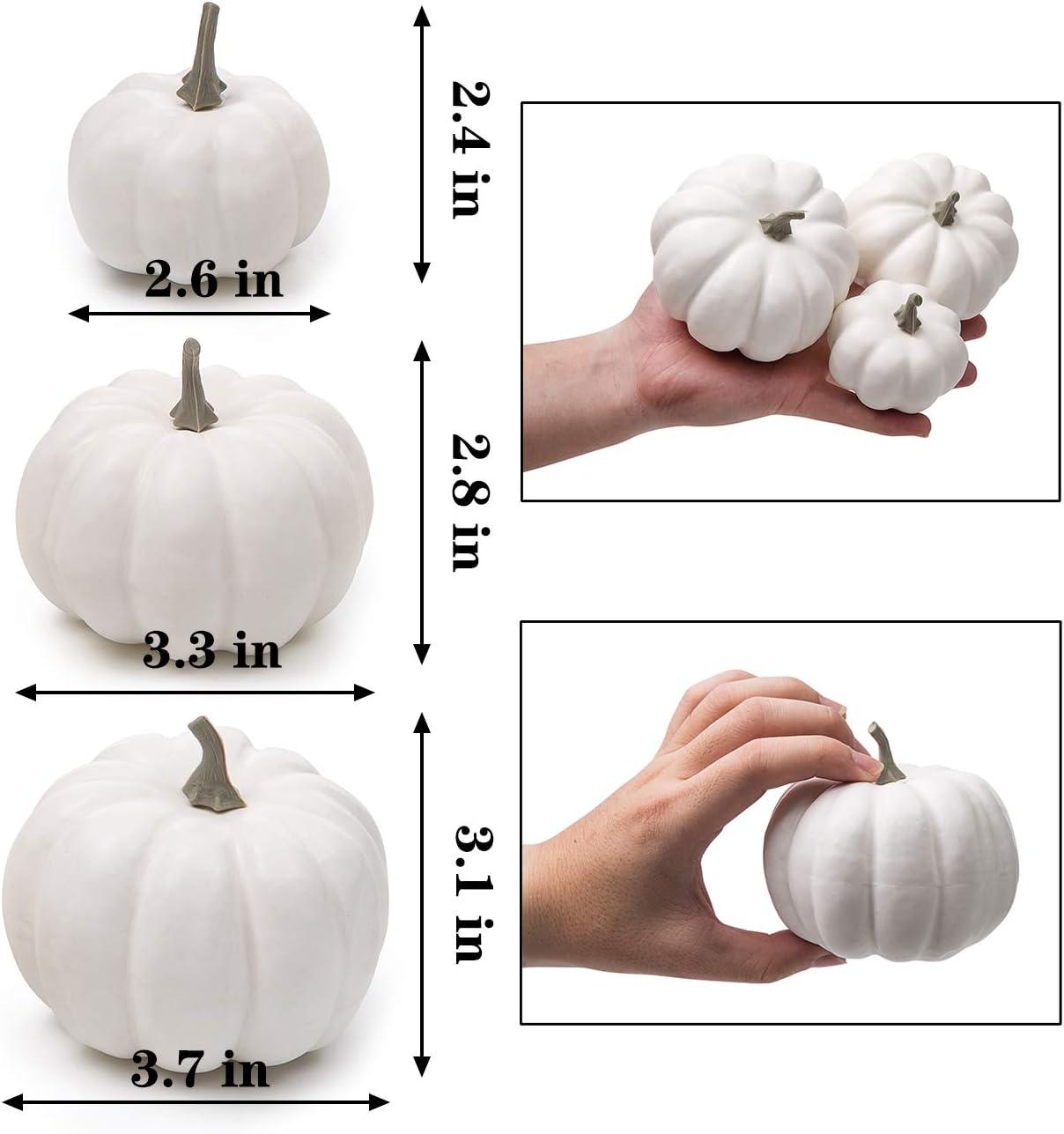 Mini Fake Pumpkins Artificial Vegetables for Halloween,Harvest Thanksgiving Party Decor Orange Ogrmar 12 Pack Artificial Assorted Pumpkins
